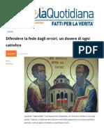 Difendere La Fede Dagli Errori Un Dovere Di Ogni Cattolico