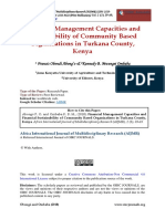 Financial Management Capacities and Financial Sustainability of Community Based Organizations in Turkana County Kenya