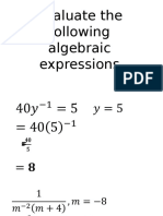 Evaluate the Following Algebraic Expressions