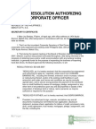 Board Resolution Authorizing Corporate Officer
