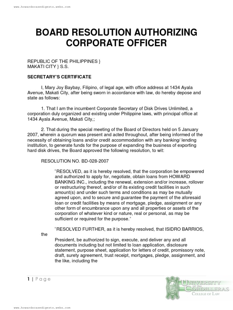 Board Resolution Authorizing Corporate Officer Loans Credit  Board Resolution Authorizing Corporate Officer