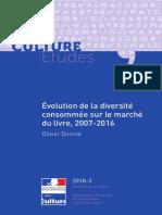 Évolution de la diversité consommée sur le marché du livre, 2007-2016