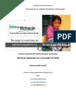 Síntesis Educativa Semanal de Michoacán al 1 de octubre de 2018