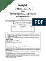 Insight 2016 Mathematical Methods Examination 2
