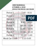 mock car crash schedule