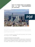 BORJA_El Urbanismo Frente a La Ciudad Actual