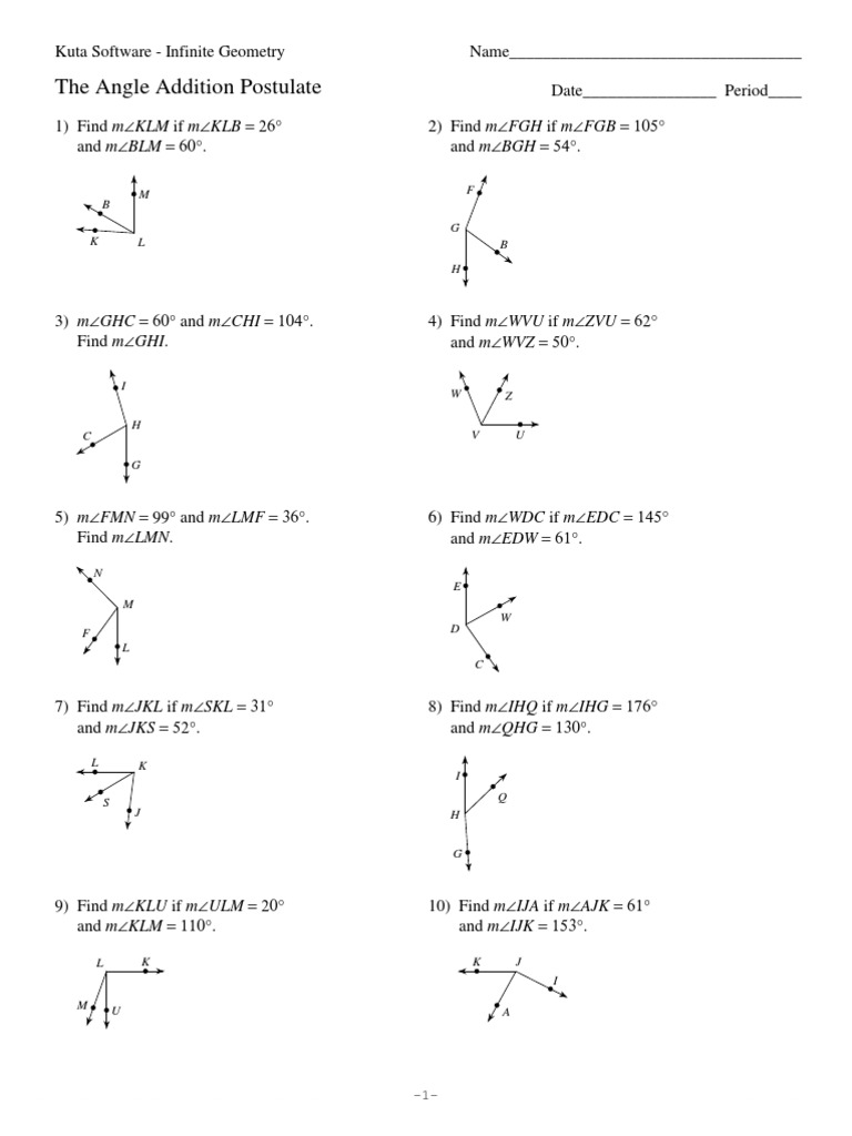 worksheet. The Angle Addition Postulate. Duliziyou Worksheets for ...
