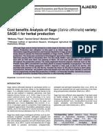 Cost benefits Analysis of Sage (Salvia officinalis) variety