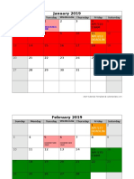 2019 Monthly Calendar API EXAM