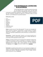 Clasificación de Materiales en La Estructura de Un Automóvil