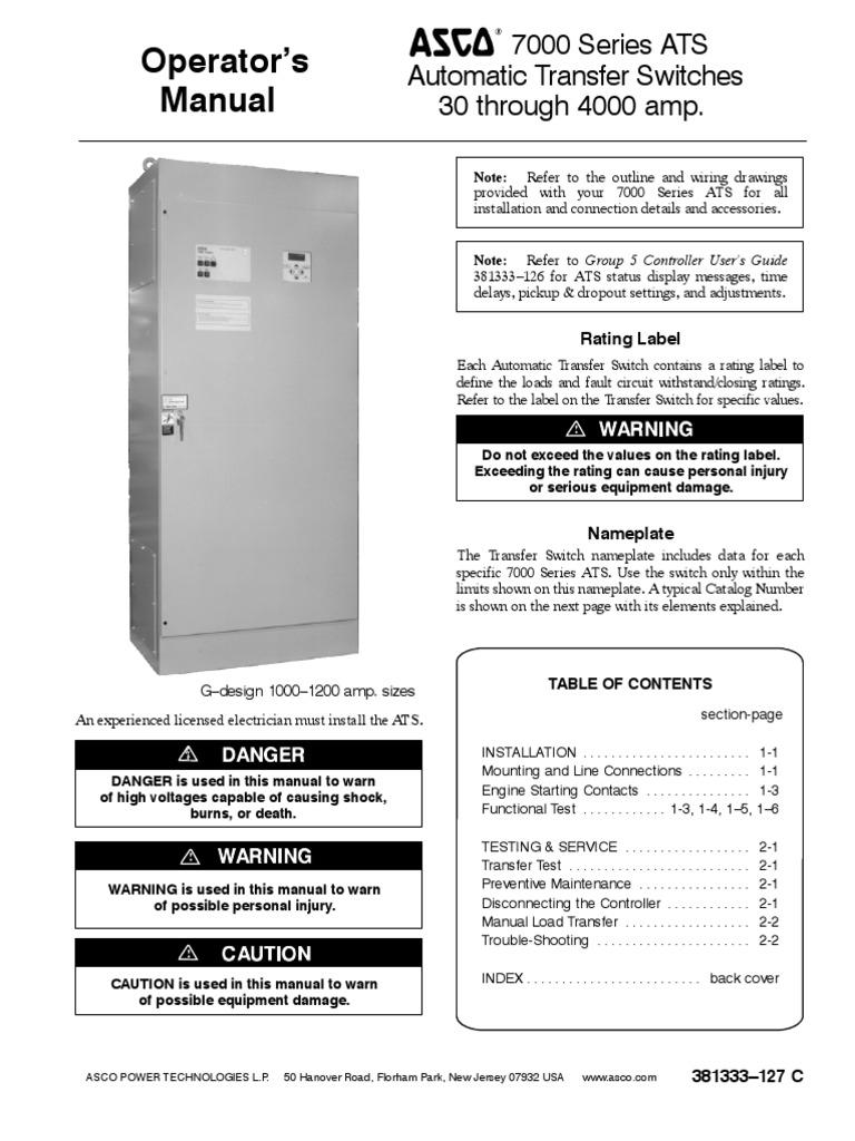 ASCO 7000 Series | Switch | Electrical Wiring  Kv Asco Ats Wiring Diagram on
