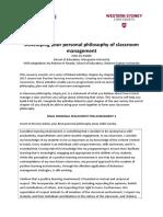 jennifer seach philosophy of classroom management