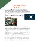 Materiales Usados Para Fabricar Un Auto