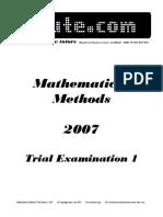 Itute 2007 Mathematical Methods Examination 1