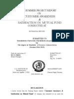 Summer Training Cunsumer Avareness & Satisfication on Mutual Fund
