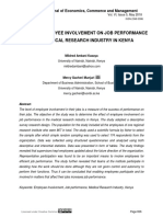Effect of Employee Involvement on Job Performance in the Medical Research Industry in Kenya