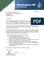 160510 Letter to Finance Minister Re Salamander Bay