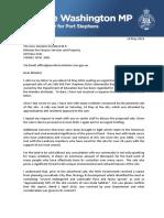 160518 Letter to Finance Minister Re Land at Salamander Bay