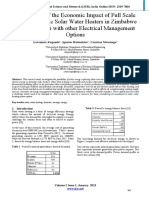 Assessment of the Economic Impact of Full Scale Use of Domestic Solar Water Heaters in Zimbabwe in Comparison With Other Electri
