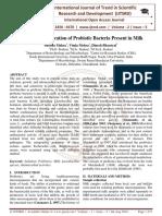Isolation, Identification of Probiotic Bacteria Present in Milk