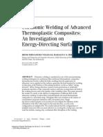 Ultrasonic Welding of Advanced Thermoplastic Composites