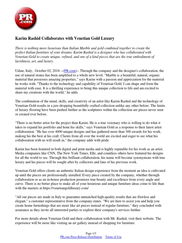 Karim Rashid Collaborates with Venetian Gold Luxury