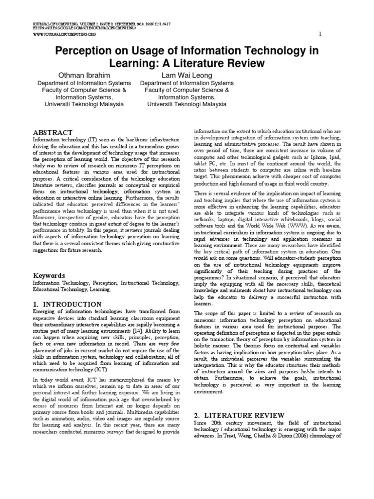literature review on technology