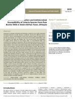 Isolation Identification and Antimicrobialsusceptibility of Listeria Species From Rawbovine Milk in Debrebirhan Town Ethiopia (Wecompress.com)