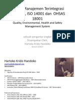 Sistem Manajemen Terintegrasi ISO 9001 ISO 14001 & OHSAS 18001