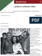 Morre a Cientista Política E Militante Vânia Bambirra | Brasil de Fato