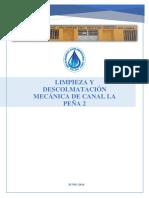 2.- FICHA N° 02 - DESCOLMATACION DE CANAL CON MAQUINARIA - CANAL PEÑA 2 - C.U MIGUEL CHECA - JUNIO 2018