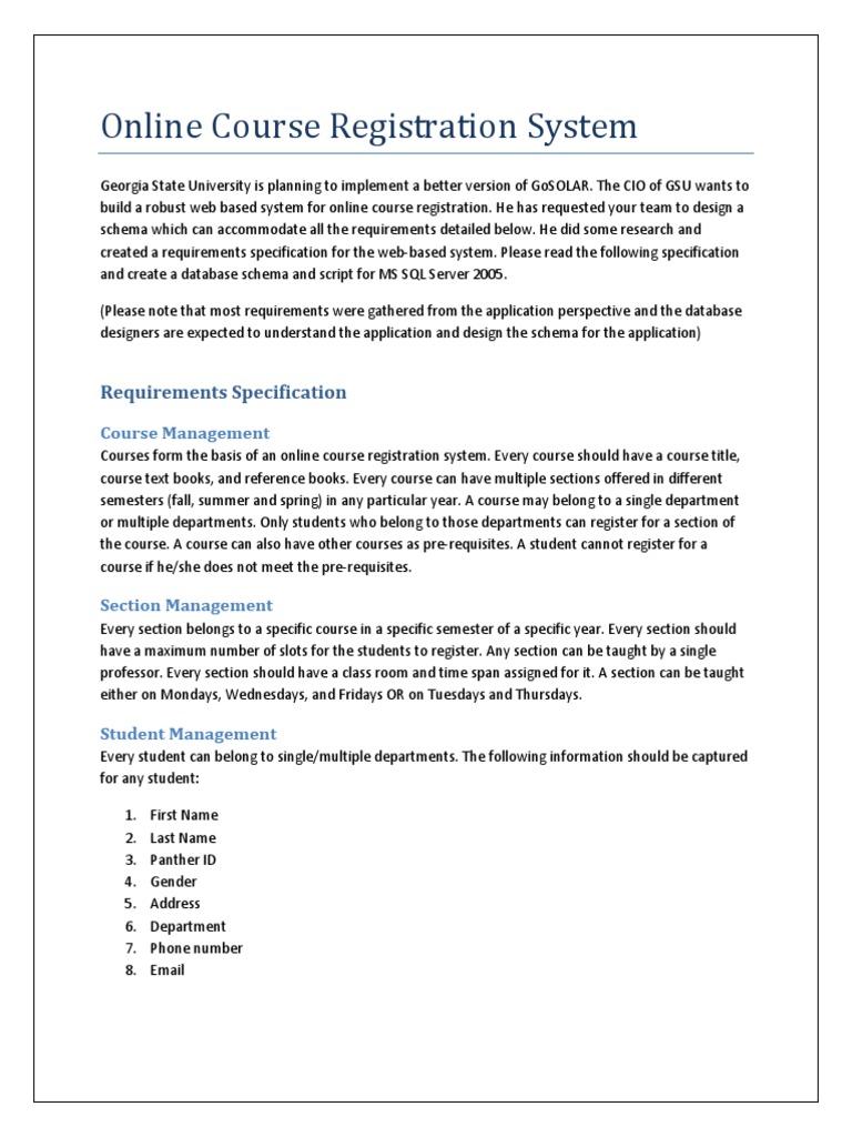 Online Course Registration System Pdf Information Retrieval Academic Term
