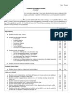 academic performance checklist