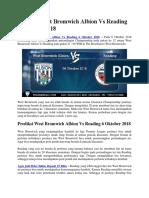 Prediksi West Bromwich Albion vs Reading 6 Oktober 2018