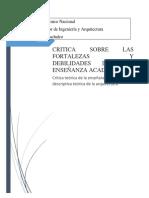 Critica Teórica de La Enseñanza Basada en Una Descriptiva Teórica de La Arquitectura