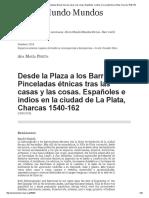 Desde La Plaza a Los Barrios. Pinceladas Étnicas Tras Las Casas y Las Cosas