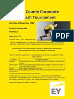 Corporate Squash Tournament Flier - 3 Nov 2018