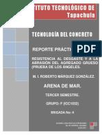 Reporte Practica No. 10 RESISTENCIA AL DESGASTE Y A LA ABRASIÓN DEL AGREGADO GRUESO (PRUEBA DE LOS ÁNGELES.