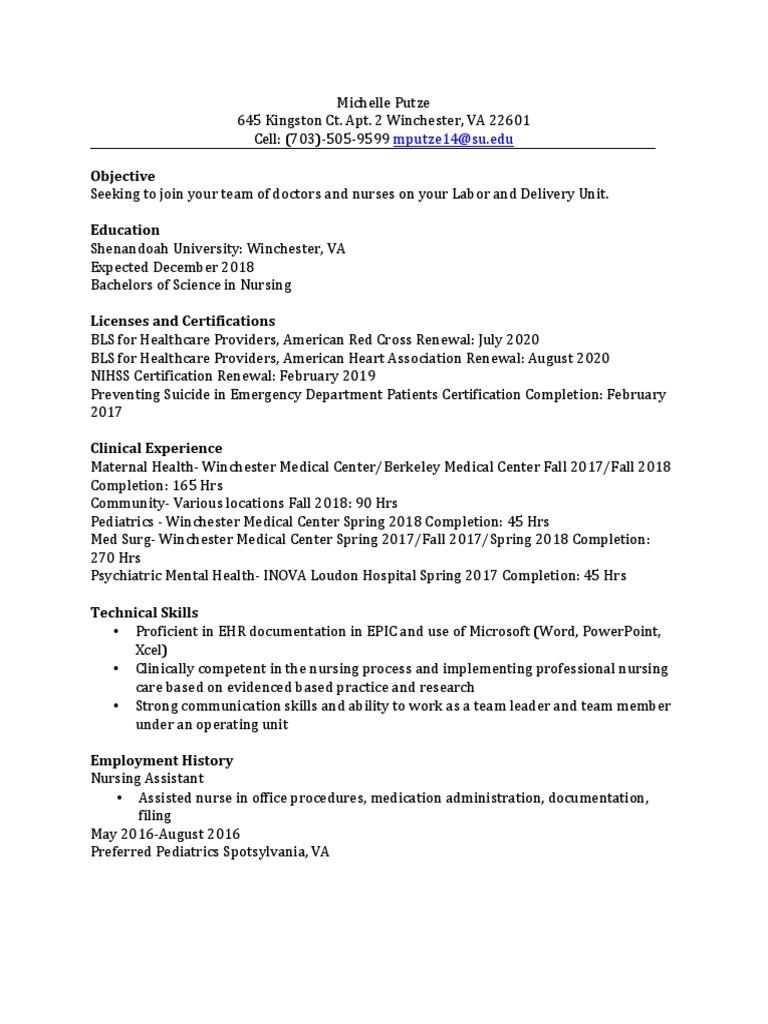 michelle putze rn resume | Nursing | Hospital