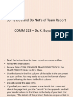 Dos and Donts of Team Report