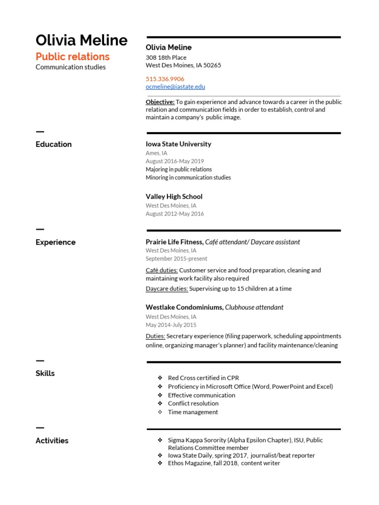 Meline Resume 3 Business