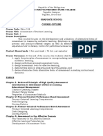 Assessment of Learning Course Outline