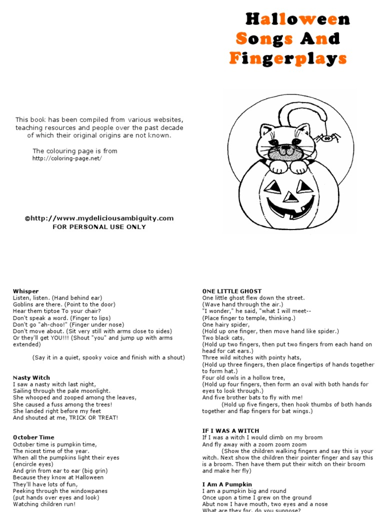 Halloween Songs And Fingerplays