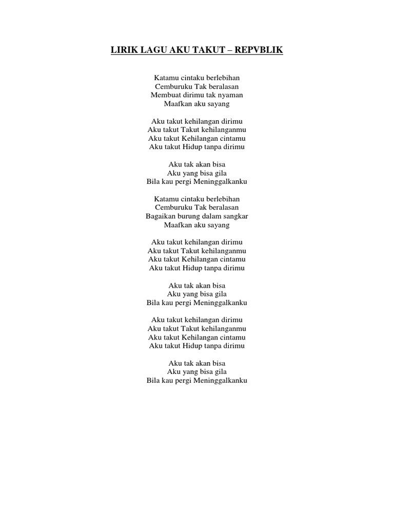 Lirik Lagu Aku Takut