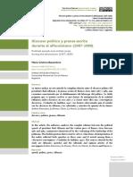 Discurso Politico y Prensa Escrita Durante El Alfonsinismo