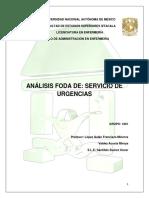 Análisis FODA SERVICIO DE ENFERMERIA URGENCIAS