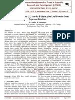 Biosorption of Copper (II) Ions by Eclipta Alba Leaf Powder from Aqueous Solutions