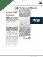 Urbino tra le migliori 500 università del mondo - Il Corriere Adriatico del 2 ottobre 2018