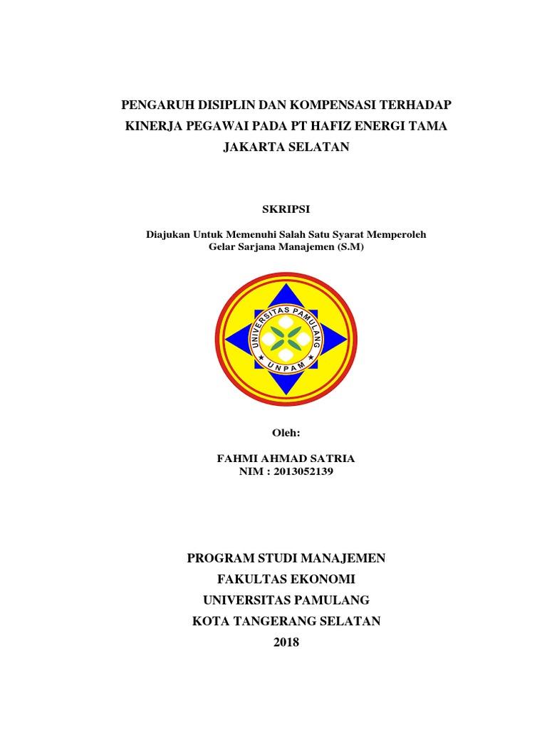Contoh Proposal Skripsi Manajemen Sdm Unpam Kumpulan Berbagai Skripsi