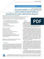 Comparison of Dexmedetomidine vs Propofol Used as Adjuvant With Combined Spinal Epidural Anaesthesia for Joint Replacement Surgeries
